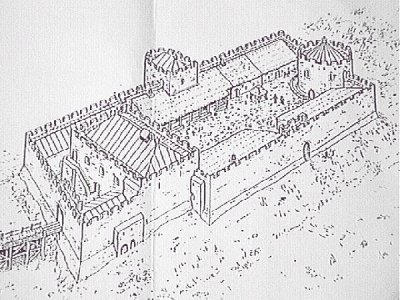 Dolforwyn Castle,as it may have looked,when in use.