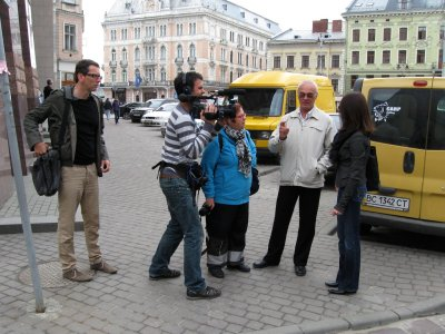 filming begins with Sylvie and Alex in the old town of Lviv, on a tour of Jewish sites