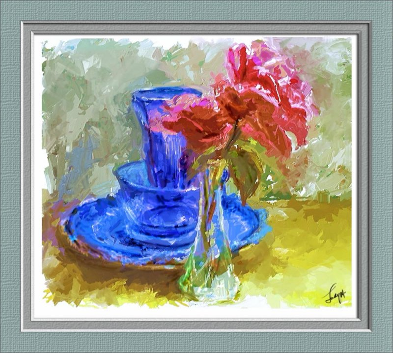 Blue glass and roses