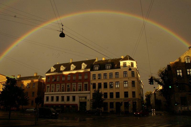 Rainbow over Sankt Hans Torv on Nørrebro in Copenhagen