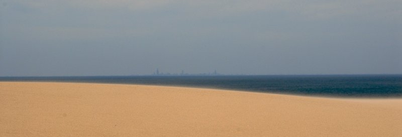 ...sand, lake and Chicago