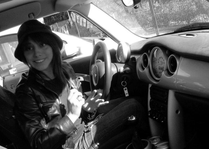 in her car
