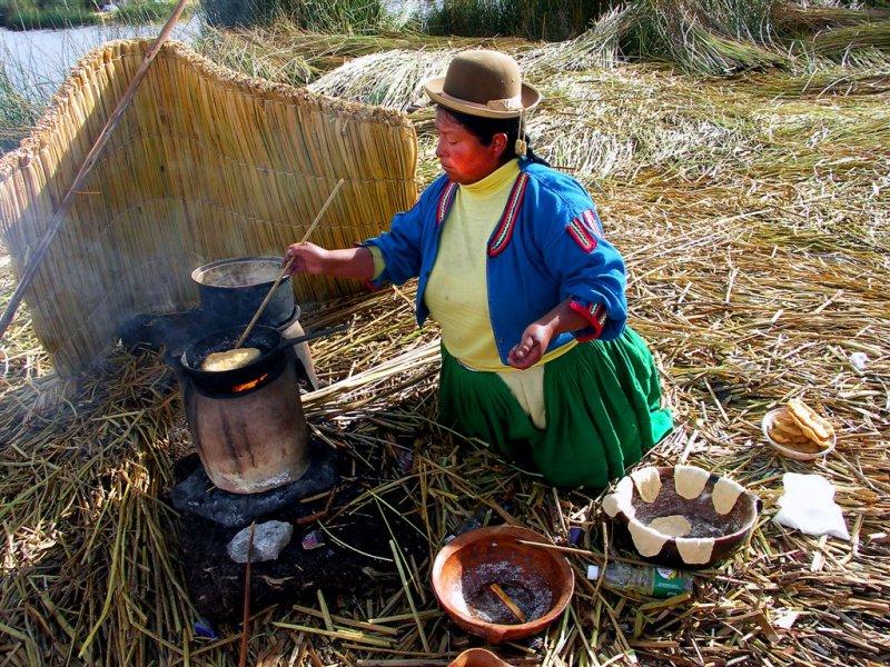 Grandma Cooks Breakfast , Uros Floating Islands Of Titicaca