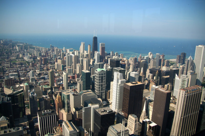 View of the Chicago skyline and of Lake Michigan from the observation deck of the Sears Tower.