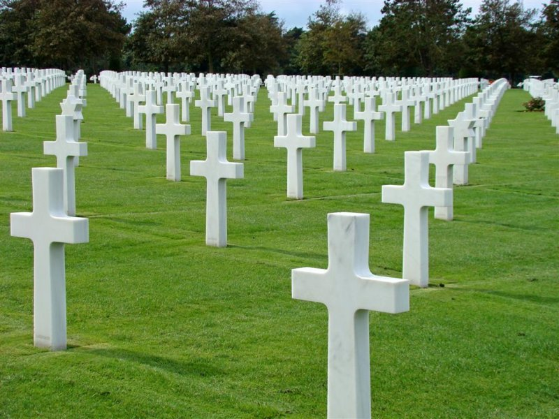 The military cemetery within sight of Omaha beach