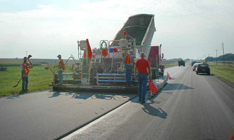 Hot Asphalt in Kansas Sun