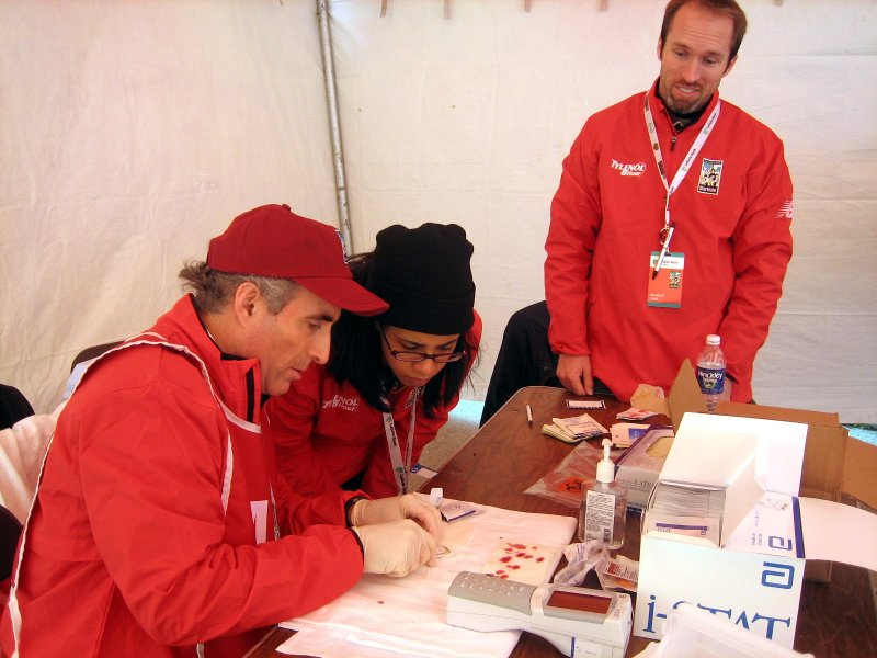 iSTAT station at the Chicago Marathon finish line medical tent