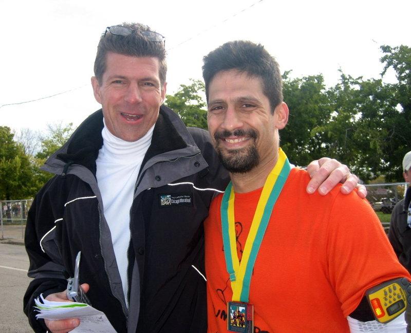 Drs. Greg Ewert (Chicago Marathon medical director) and Joe Chorley, who ran the race