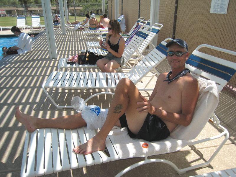 Tim Kj poolside at Furnace Creek Ranch