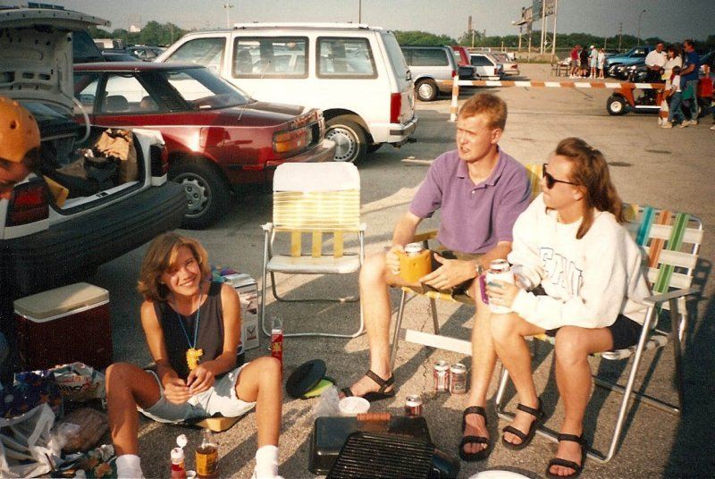tailgate:  Lisa, Mike, Magy (Andy far left with the cheesehead hat)