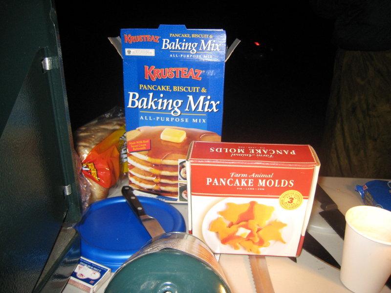 Pancake mix and animal molds.  Tim cant wait to make a pig pancake.