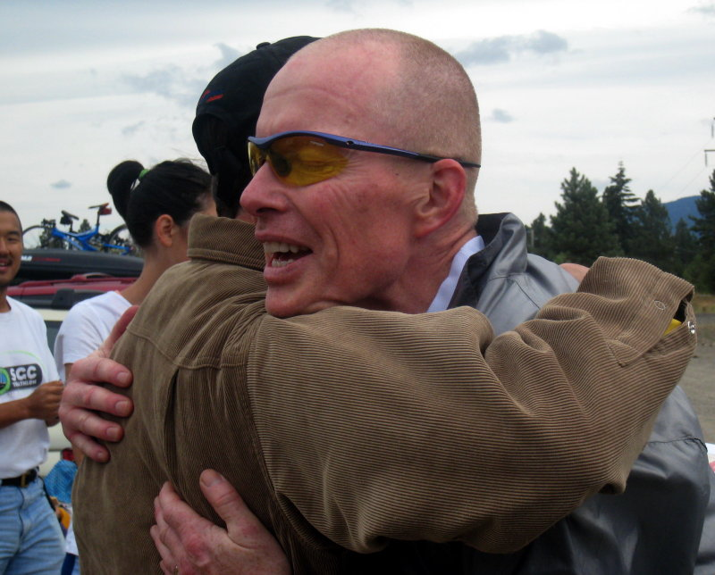 RD Charlie hugs Eric at the finish