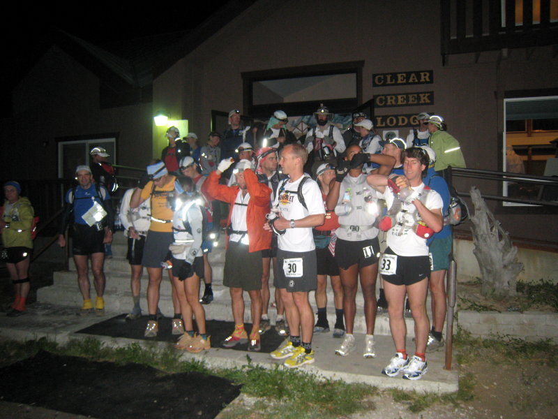 runners start on the front steps of the lodge