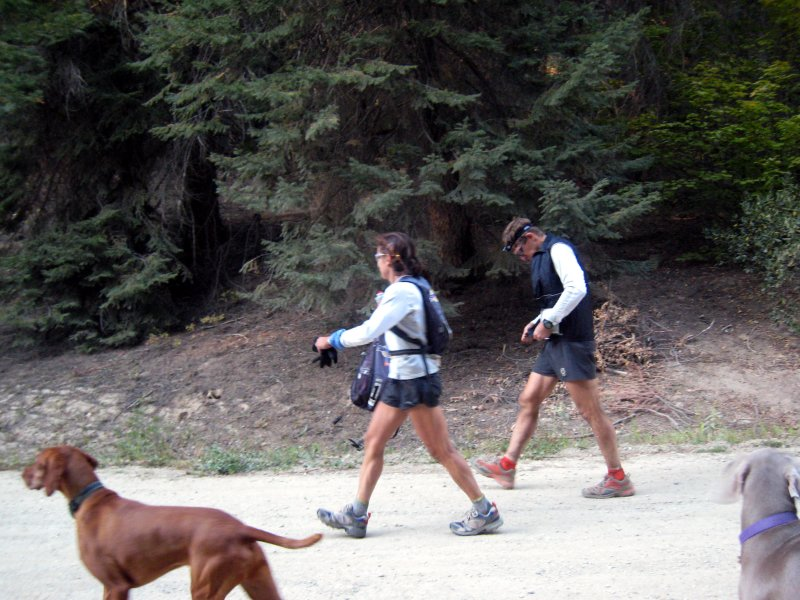 Beverly & Alan Abbs leave Deep Creek just behind Englund, Goggins & Stroh.  (Thats Bruce the Vizsla)