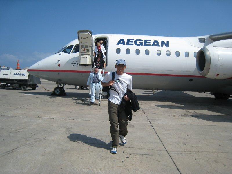 We arrive in Santorini