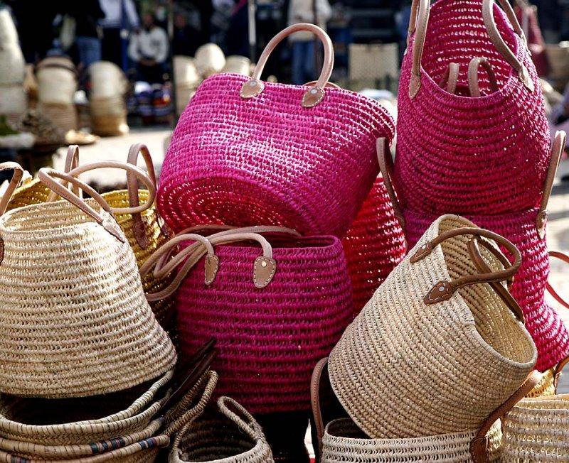 Wicker baskets in the market