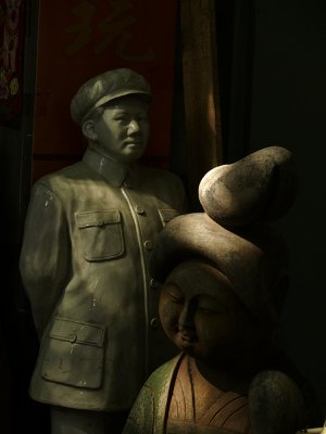 Sculpture for sale, Flea Market, Chaotian Palace, Nanjing, China, 2007