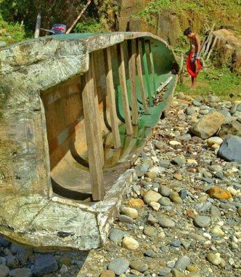Rio Chagres - Embera Tribe - Canoe Maintenance.