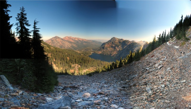 Cliff Lake Panorama from old PCT on Peak 7550.