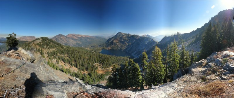 Cliff Lake Panorama from old PCT on the west ridge of Peak 7550.