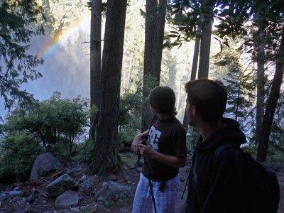 Rainbow on mist trail to Nevada Fall