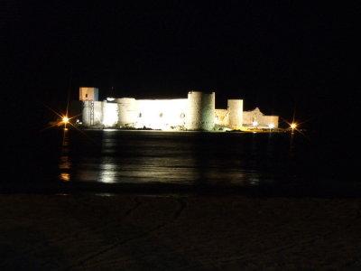 Kiz Kalesi, or The Maidens Castle, at night