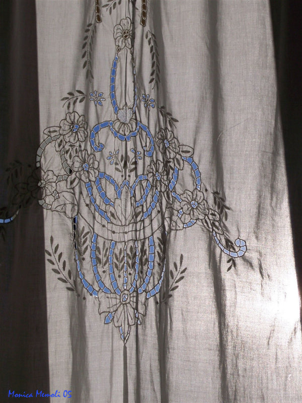 Blue sky through the curtain