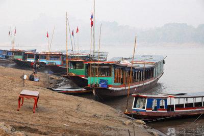 Slow boats on the Mekong at Luang Prabang