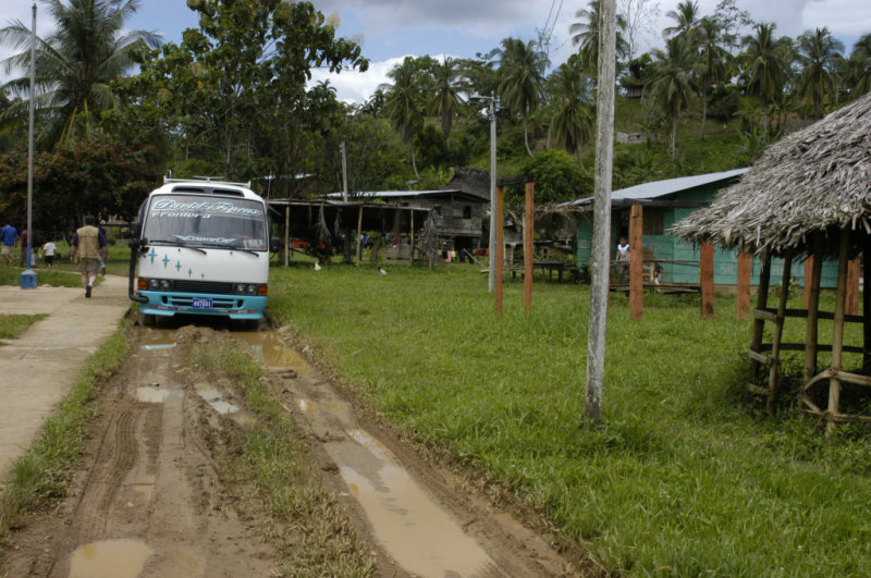 Our bus in village
