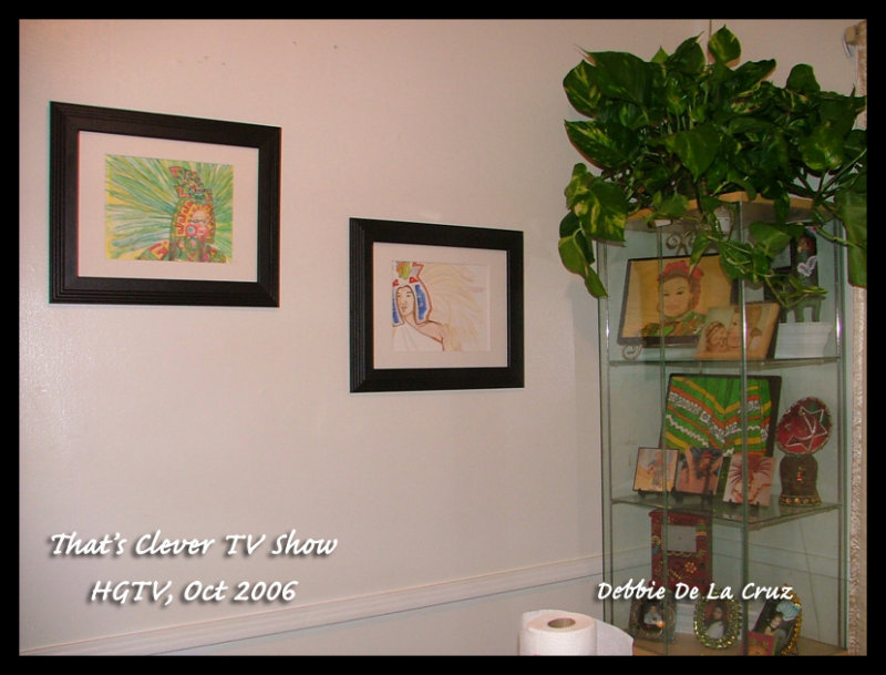 My two watercolor Aztecs and display case being filmed by Kate Turnipseed the field producer.