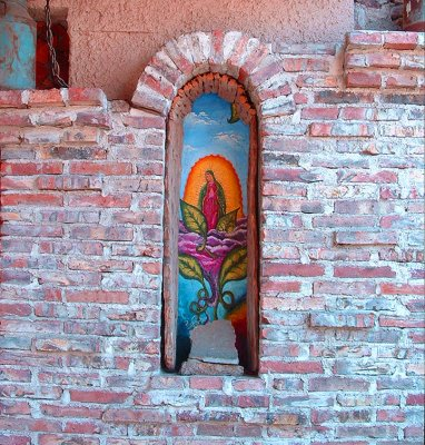 Out door alcove with Virgen mural Rosarito, BC..