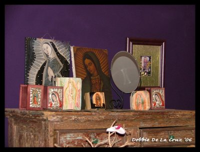 3 of my boxe on display with other Virgen art work at the Cactus Gallery in Eagle Rock, Ca.