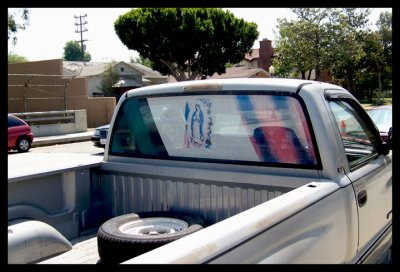 Virgen on the truck window.