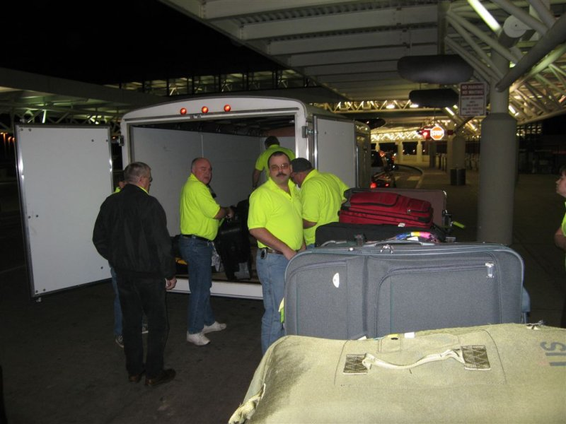 unloading the luggage at the airport in Nashville