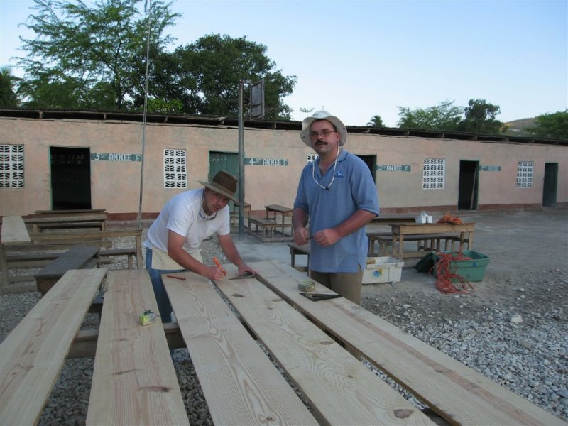 getting the boards ready to make benches