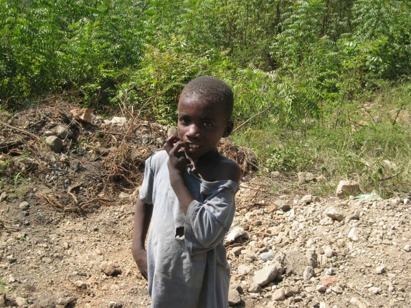 child on side of road