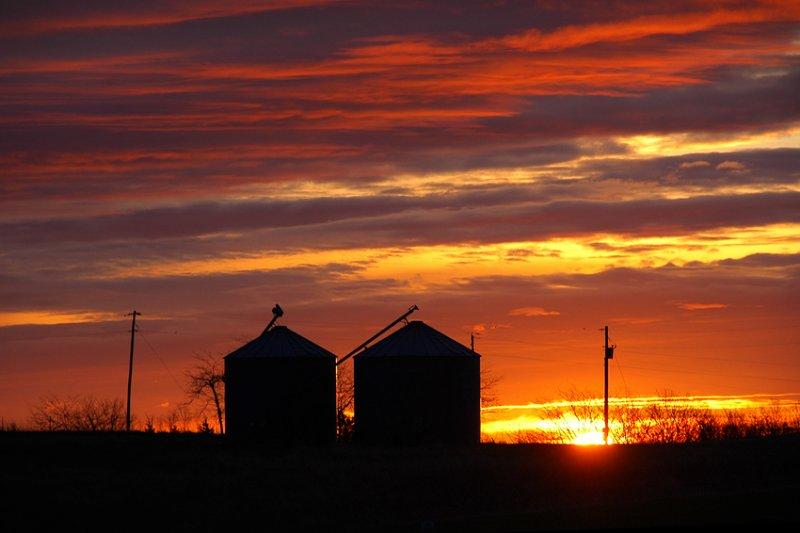 Sunrise with Grain Bins