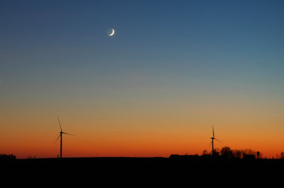Crescent Moon over Windfarm