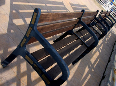 Momentary sun on bench
