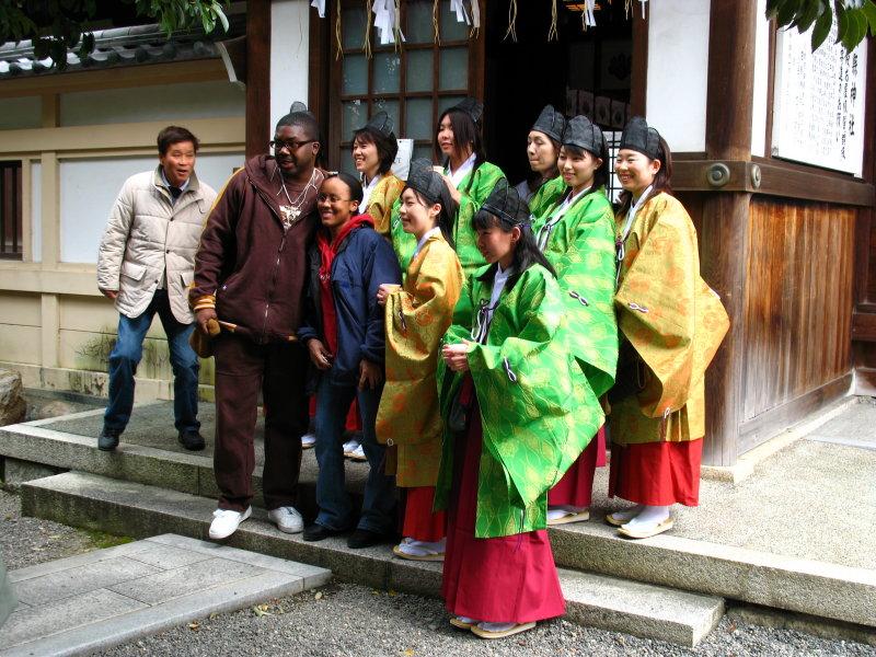 Shrine attendants before the festivities