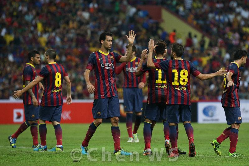 Barca players celebrate