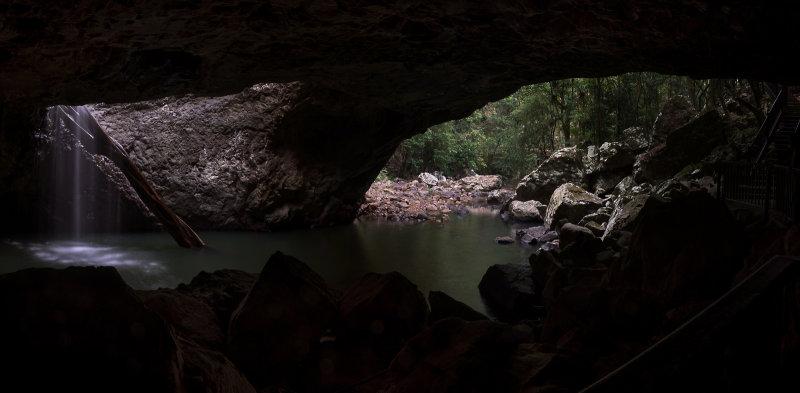 Natural Bridge cavern and waterfall, Springbrook National Park.