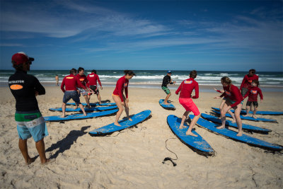 Surfing class at Surfers paradise, Gold Coast.