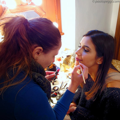 Ivana & Francesca: getting dolled up before going on set...