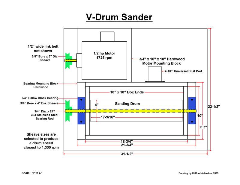 V-Drum Sander - Sketch, Top View