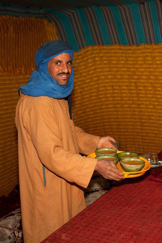 Serving Moroccan Soup