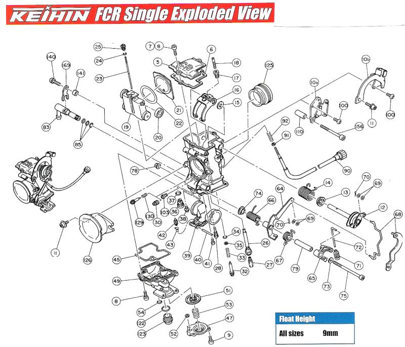FCR1 Single Carburetor Parts