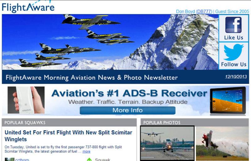 2013 - American MD-82 and B757 at FLL photo (bottom left) on FlightAwares Morning Aviation Newsletter