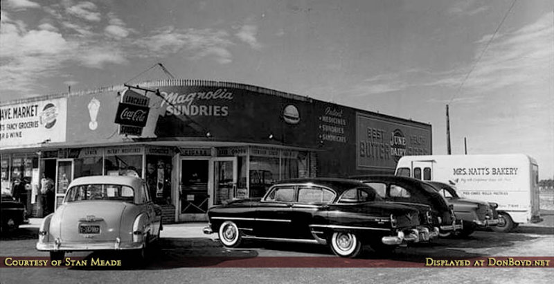 1955 - Magnolia Sundries and a Mrs. Natts Bakery truck at 14570 NW 22nd Avenue, Opa-locka, Florida