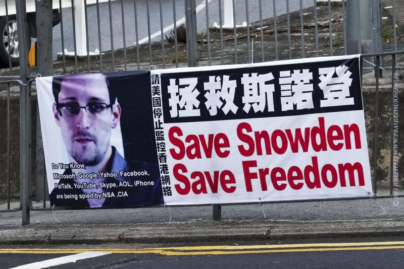 Ed Snowden banner in Hong Kong